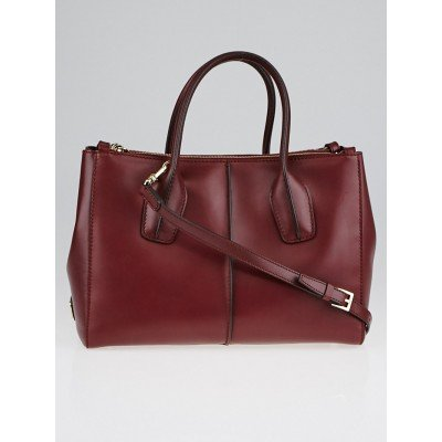 Tod's Burgundy Leather D-Styling Piccolo Zip Tote Bag