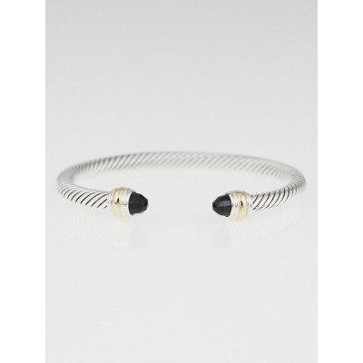 David Yurman 5mm Sterling Silver and 14k Gold Onyx Cable Classics Bracelet