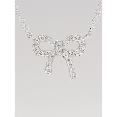 Tiffany & Co. 18k White Gold and Diamond Bow Pendant Necklace