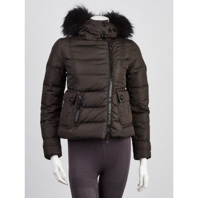 Moncler Charcoal Quilted Nylon Raccoon Fur Trimmed Down Jacket Size 00/XXS