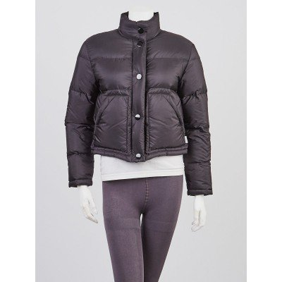Prada Black Quilted  Nylon Puffer Shell Jacket Size 4/38