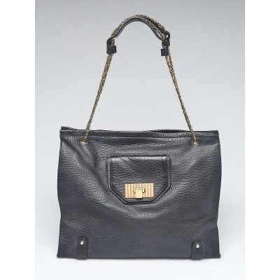 Chloe Black Pebbled Leather Large Sally Shoulder Bag