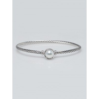 David Yurman 3mm Sterling Silver and Pearl Chatelaine Bracelet