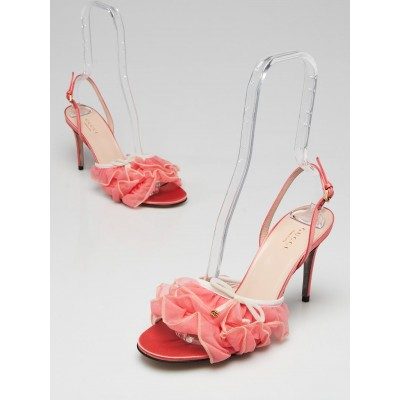 Gucci Pink Tulle Ruffle Open Toe Slingback Sandals Size 7.5/38