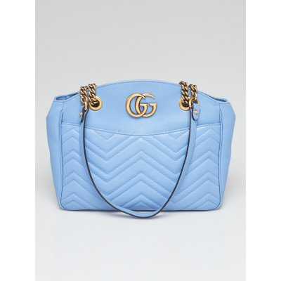 Gucci Light Blue Quilted Leather Marmont Metelasse Tote Bag