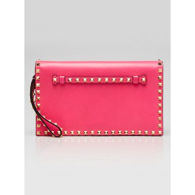 Valentino Pink  Leather Rockstud Small Clutch Bag