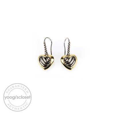 David Yurman Sterling Silver and 18K Gold Cable Heart Drop Earrings