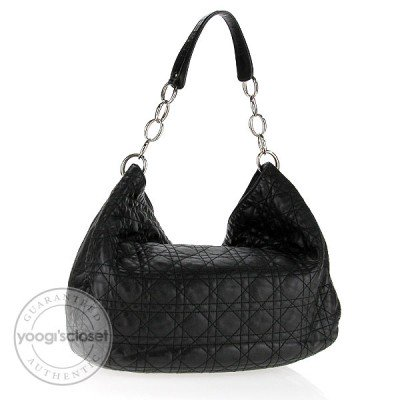 Christian Dior Black Leather Lady Dior Cannage Quilted Lambskin Hobo Bag