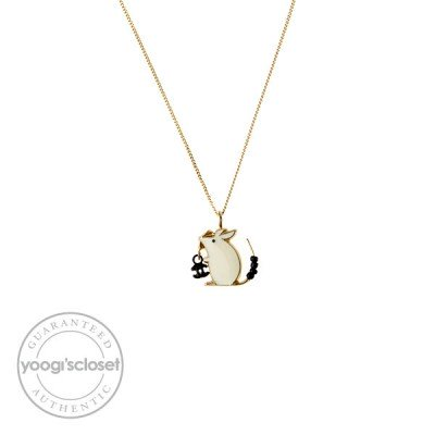 Chanel White Mouse Baby Animals Necklace