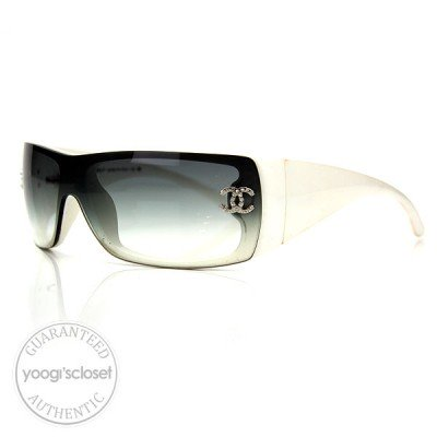 Chanel White Sunglasses with Swarovski Crystals 5088B