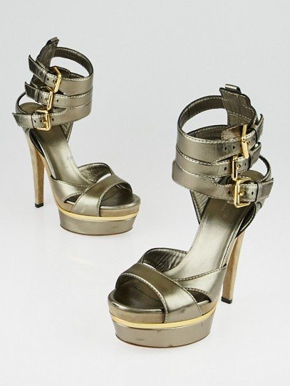 Gucci Bronze Leather Ankle Strap Platform Sandals Size 6/36.5