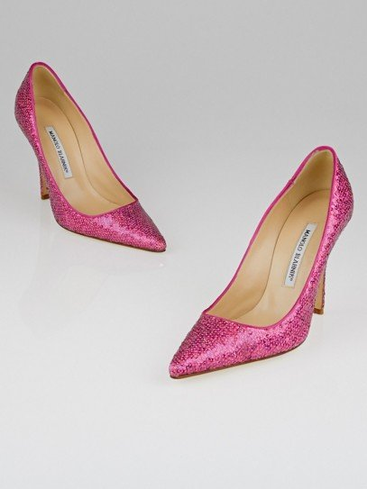 Manolo Blahnik Pink Sequin Ciuzzosa Pointed Toe Pumps Size 7/37.5