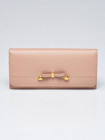 Prada Cammeo Saffiano Leather Bow Flap Wallet