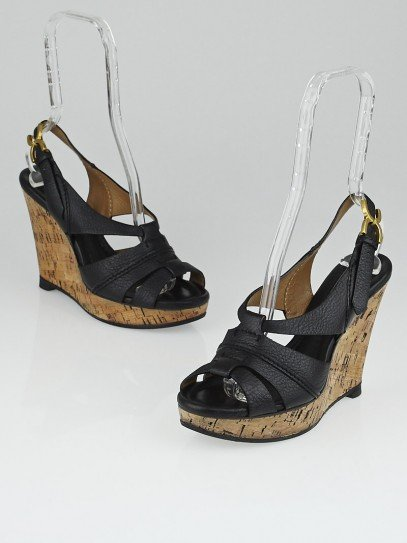 Chloe Black Leather Renna Cork Wedge Sandals Size 8.5/39