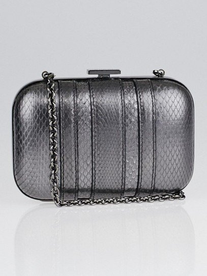 Gucci Pewter Python Pop Night Metal Frame Evening Bag