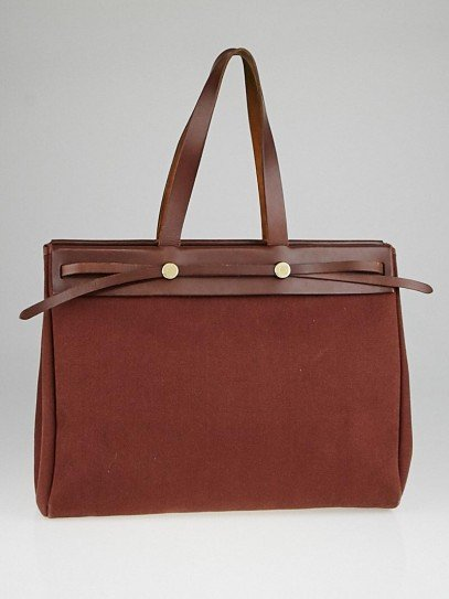 Hermes 40cm Ash Canvas and Vache Calfskin Leather Herbag Cabas MM 2-in-1 Tote Bag