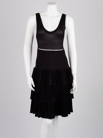 Alaïa Black Viscose Knit Blend Sleeveless Tiered Dress Size 8/42