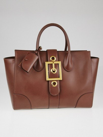 Gucci Brown Smooth Leather Lady Buckle Top Handle Bag