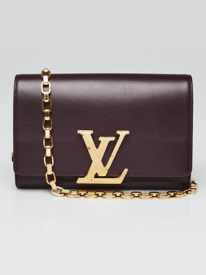 Louis Vuitton Quetsche Box Calfskin Leather Chain Louise GM Clutch Bag