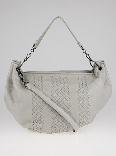 Bottega Veneta Light Blue Intrecciato Woven Cervo Leather Hobo Bag