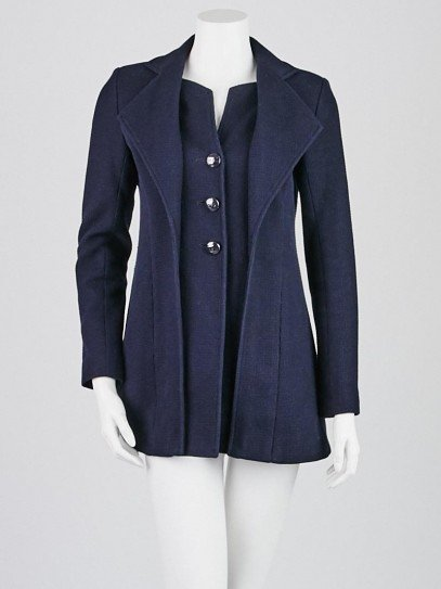 Chanel Navy Blue Textured Cotton Long Blazer Jacket Size 4/36