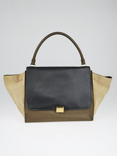 Celine Tricolor Calfskin Leather and Suede Large Trapeze Bag