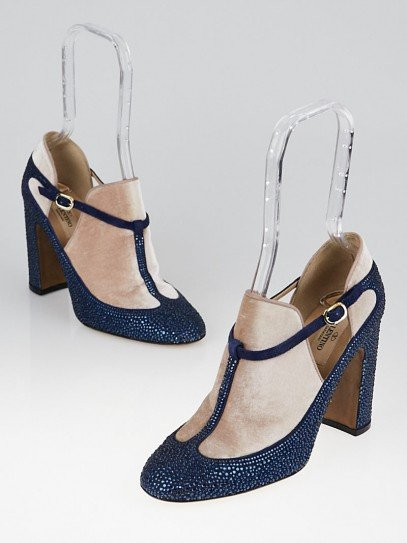 Valentino Blue Crystal and Velvet Mary-Jane Pumps Size 7.5/38