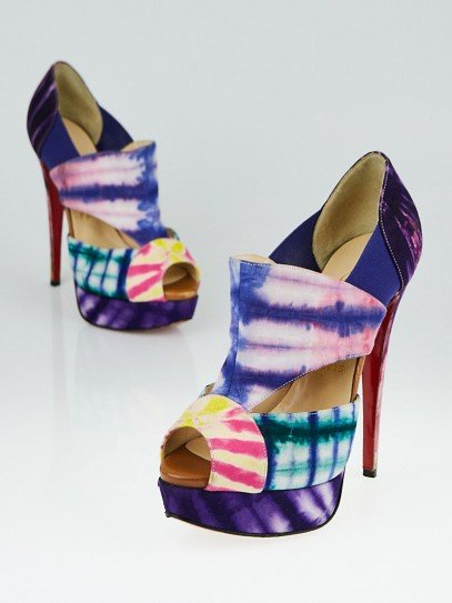Christian Louboutin Multicolor Tie-Dye Fabric Cut-Out Pitou 140 Booties Size 6.5/37