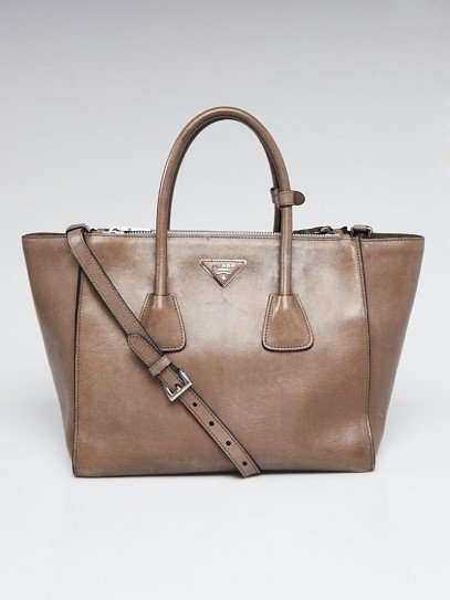 Prada Grey Calf Leather Twin Pocket Double Handle Tote Bag