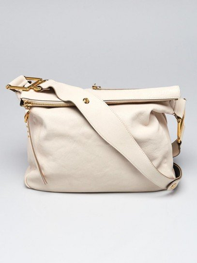 Chloe White Leather Vanessa Shoulder Bag