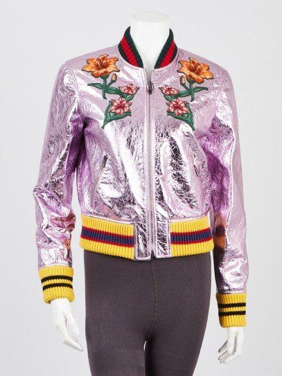 Gucci Pink Metallic Crinkle Leather Embroidered Bomber Jacket Size 8/42
