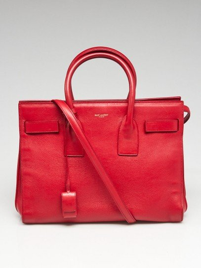 Yves Saint Laurent Red Grained Leather Small Sac de Jour Tote Bag