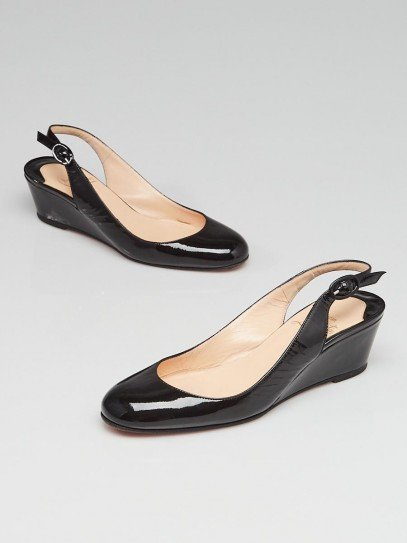 Christian Louboutin Black Patent Leather Slingback Low Wedges Size 5/35.5