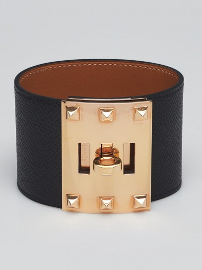 Hermes Black Epsom Leather Rose Gold Plated Kelly Dog Extreme Bracelet Size L