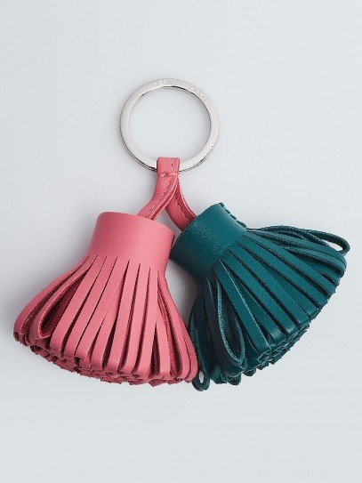 Hermes Rose Azalee/Malachite Lambskin Leather Carmen Uno-Dos Key Ring