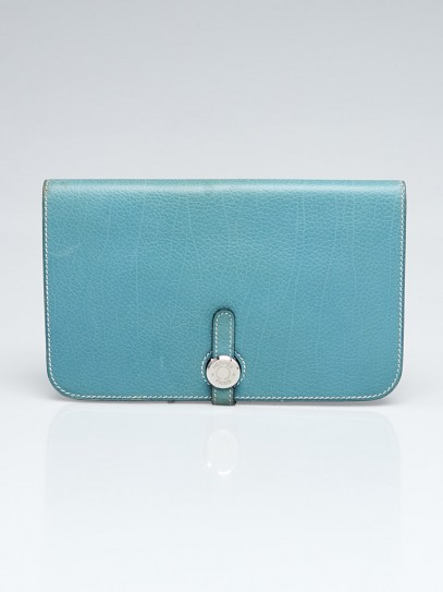 Hermes Blue Jean Clemence Leather Palladium Plated Dogon Combined Wallet