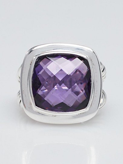 David Yurman 14mm Amethyst and Sterling Silver Albion Ring Size 6