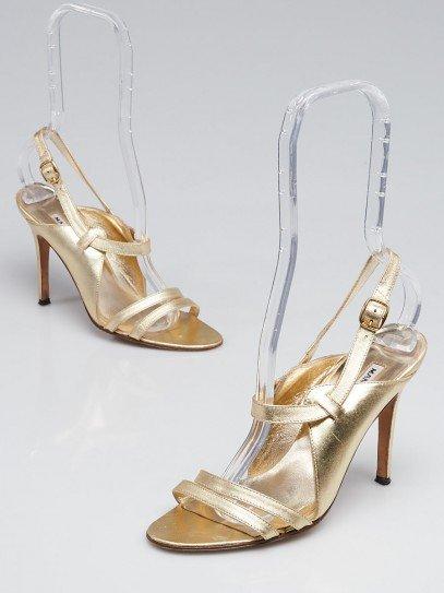Manolo Blahnik Gold Leather Peep Toe Slingback Heels Size 5.5/36