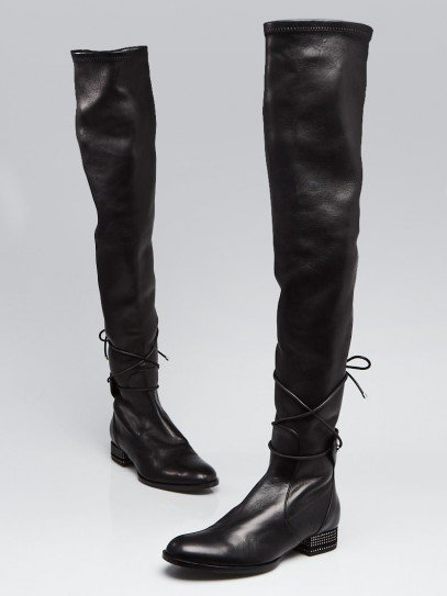 Christian Dior Black Leather Over The Knee Boots Size 5.5/36