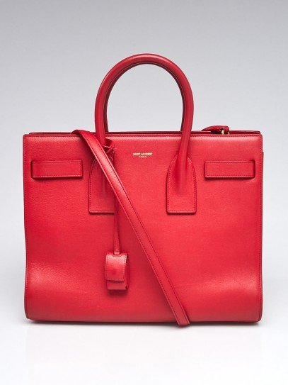 Yves Saint Laurent Red Leather Small Sac de Jour Tote Bag