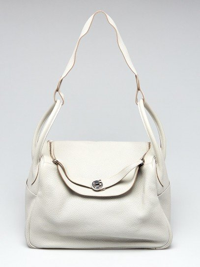 Hermes 34cm Gris Perle Togo Leather Palladium Plated Lindy Bag