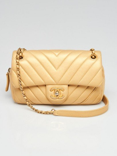 Chanel Gold Chevron Quilted Leather Mini Camera Case Flap Bag