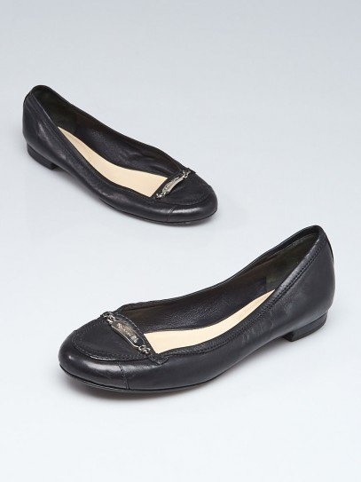 Chanel Black Leather Name Plate Flats Size 7/37.5