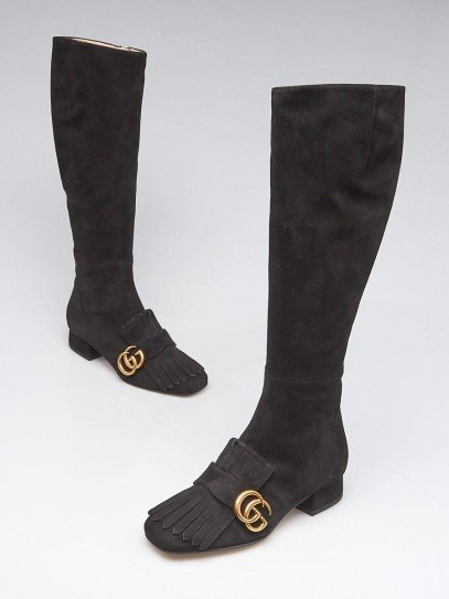 Gucci Black Suede Marmont Riding Boots Size 3.5/34