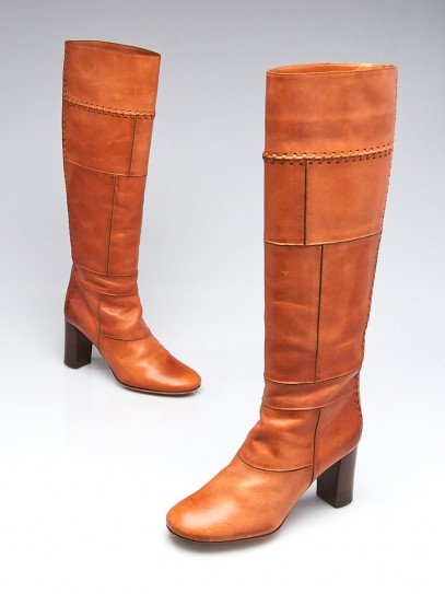 Chloe Tan Leather Patchwork Knee-High Boots Size 6/36.5