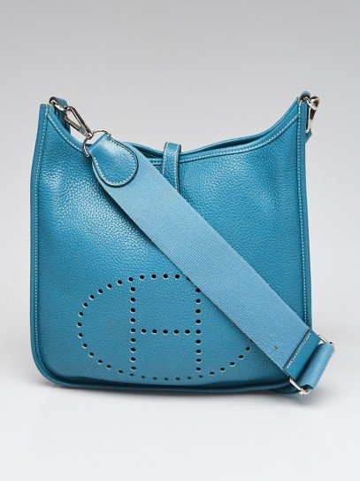 Hermes Blue Jean Clemence Leather Evelyne PM III Bag