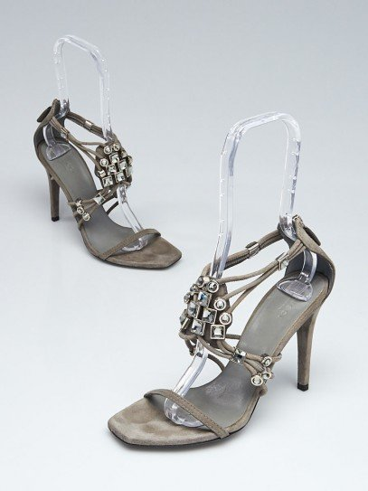 Gucci Grey Suede Crystal Strappy Sandals Size 7.5/38