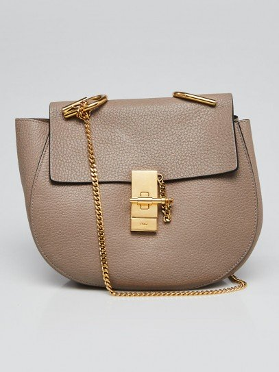 Chloe Motty Grey Pebbled Leather Drew Bag