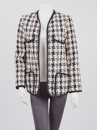 Gucci Blue/White Cotton Tweed Open Jacket Size 6/40