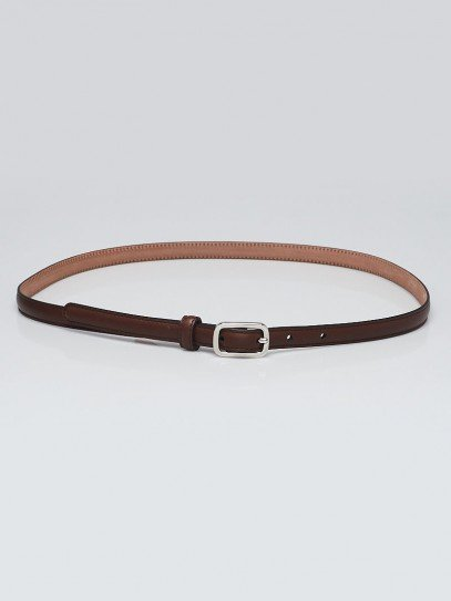 Gucci Brown Leather Skinny Belt 90/36